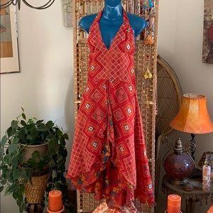 100% silk BoHo halter back out dress